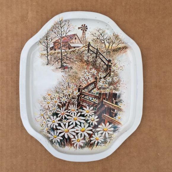 Vintage tin trinket tray farm scene landscape